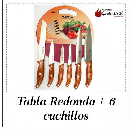 Tabla Redonda + 6 cuchillos